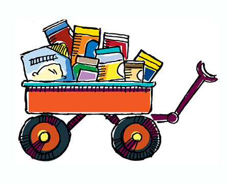 food boxes and cans in a child's wagon